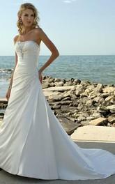 New Arrival a Line Strapless Court Train Elastic Woven Satin Wedding Dress