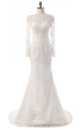 Mermaid Long Sleeve Tulle Lace Weddig Dress With Appliques