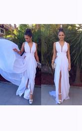 Sleeveless V-neck Long Front Split Chiffon Dress