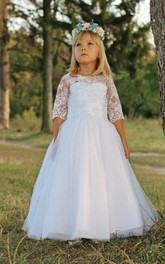 Flower Girl Scalloped Neck Tulle Gown With Illusion Sleeve