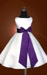 A-line Scoop Sleeveless Bowknot Floor-length Satin Flower Girl Dresses