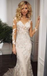 Modest Jewel Mermaid Floor-length Sweep Train Long Sleeve Wedding Dress With Appliques