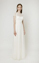 Elegant Bell Sleeve Birdal Gown With Deep-V Back