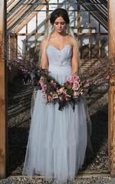 Fairy Long Tulle Wedding Veil with Lace Edge