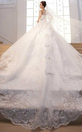 Sleeveless Sweetheart Neck Lace Ball Gown Dress With Beading