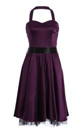 Halter A-line Stretch Satin Dress With Bow Tie