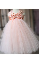 Cap Sleeve Empire Pleated Tulle Ball Gown With Flowers and Bow
