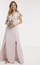 Front Split Ethereal Ruching Top V-neck Cap Sleeve Chiffon Bridesmaid Dress