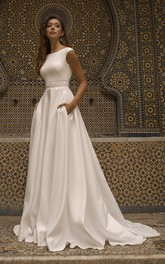 Cap Sleeve Bateau Neckline With Elegant Satin Wedding Dress With V-back And Sash Details