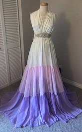 Elegant Chiffon A-line Sleeveless V-neck Maternity Dress