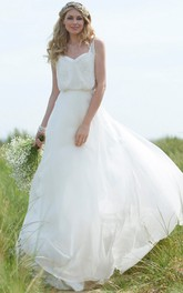Straps Maxi Beaded Chiffon Wedding Dress With Sweep Train And V Back