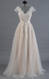 Cap Sleeve V-Neck A-Line Tulle Dress With Lace Bodice and Satin Sash
