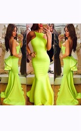 Mermaid Sweep Train Ruffles Backless Dress