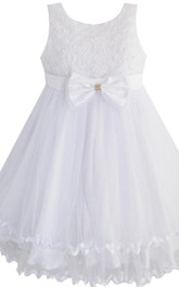 Sleeveless A-line Bowed Dress With Beadings