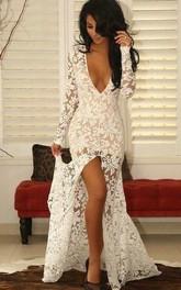 Modern Lace Deep V-neck Mermaid Prom Dress 2018 Front Split Long Sleeve