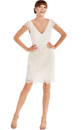Pencil Mini Cap-Sleeve V-Neck Lace Little White Dress With Low-V Back