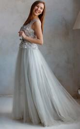 A-Line Court Train Jewel Short Sleeve Tulle Lace Pleats Low-V Back Dress