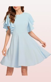 Jersey Knee-length A Line Short Sleeve Simple Elegant Dress with Pleats