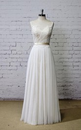 Scoop Neck A-Line Tulle and Lace Dress With Pleats and Satin Sash