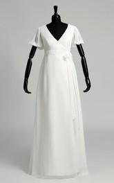 A Line Court Puff Balloon Short Sleeve Wedding Dress