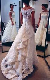 A-line Princess Scoop Lace Court Train Wedding Dresses