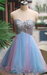 Sparkly A-Line Sweetheart Short Tulle Dress