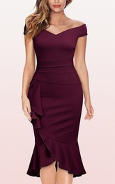 Romantic Satin Off-the-shoulder Sleeveless Bodycon Formal Dress With Ruffles
