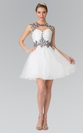 A-Line Mini Jewel-Neck Cap-Sleeve Tulle Satin Keyhole Dress With Ruching And Appliques