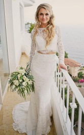 Simple Bateau Lace Two Piece Floor-length Long Sleeve Wedding Dress