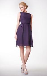 Bateau Neck Short A-line Chiffon Dress Simple Style
