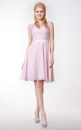V-neck V-back A-line Knee Length Dress Lace Bodice