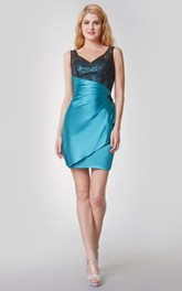 Sleeveless Lace Strap Ruched Short Satin Dress With Draping