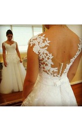 Cap Sleeves Sweetheart A-line Lace Gown With Sash