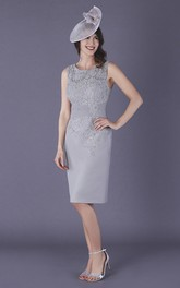 Chiffon and Lace Bateau Sleeveless Knee-length Mother of The Bride Dress