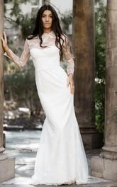 Modern High Neck Lace Mermaid Long Sleeve Floor-length Sweep Train Wedding Dress