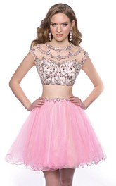 Cap Sleeve Two-Piece Mini Homecoming Dress With Jeweled Top And Tulle Skirt