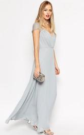 Sheath Floor-Length V-Neck Cap Sleeve Ruched Chiffon Bridesmaid Dress