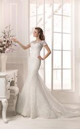 Floor Length Short Sleeve Lace Applique Sheath Dress