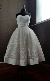 Organza and Lace Sweetheart A-Line Tea Length Dress With Bow