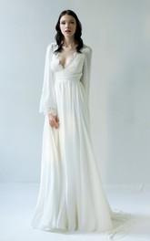 Sexy Chiffon Long Sleeve Scalloped Deep-V Back Wedding Dress