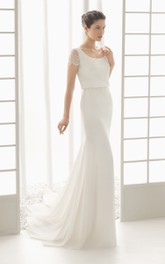 Cap-Sleeved Bateau-Neck Dress With Draping At Back