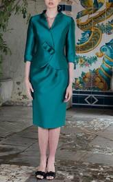 Satin Sheath Knee Length Dress With 3-4-sleeved Jacket