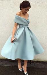 Satin Tea-length A Line Sleeveless Modern Cocktail Dress with Criss Cross