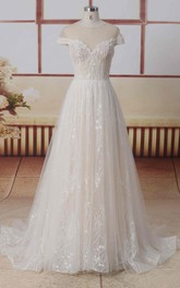 Jewel Neck Short Illusion Sleeves A-line Lace Tulle Wedding Dress With Illusion Back And Pleats