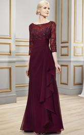 Bateau Neck 3-4 Sleeve Appliqued Chiffon Formal Dress