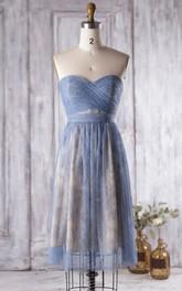 Backless Sweetheart A-line Pleated Lace Knee Length Dress