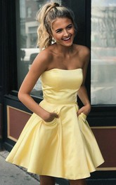Satin A Line Backless Sleeveless with Pockets and Ruching Homecoming Dress