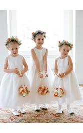 Lovely Jewel White Princess Flower Girl Dress 2018 Bowknot Sleeveless
