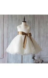 Jewel Neck Sleeveless Empire A-line Knee Length Tulle Dress With Satin Sash