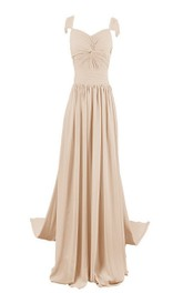 Sleeveless Long Chiffon Gown With Pearled Shoulders